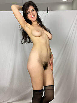 hairy brunette mature stripping